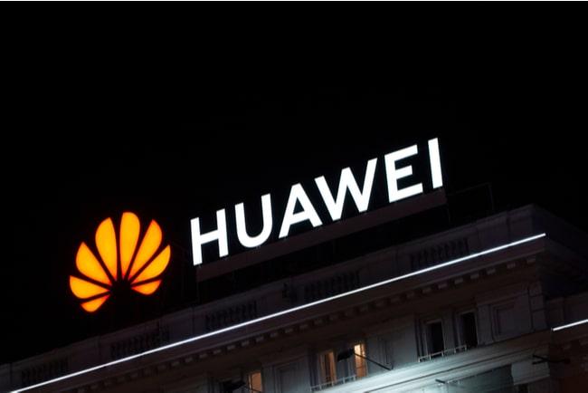 Huaweis logga på hustak