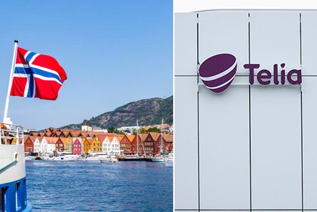 Kollage med Norgeflagga och Telialogga