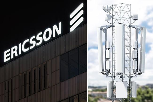 Kollage med Ericssons logga och mobilmast