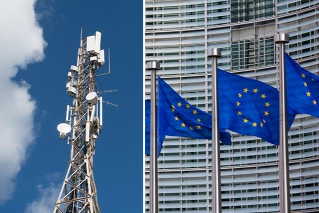 Mobilmast och EU-flaggor