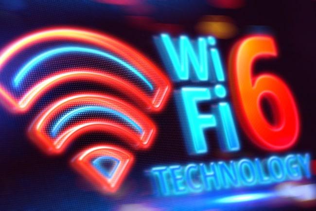 wifi6-symbol mot svart bakgrund