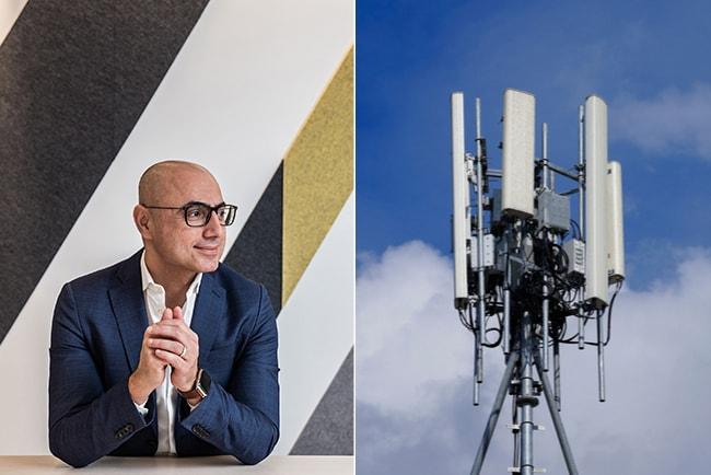 haval van drumpt, vd för Tre Sverige, och en 5G-mast mot blå molnig himmel