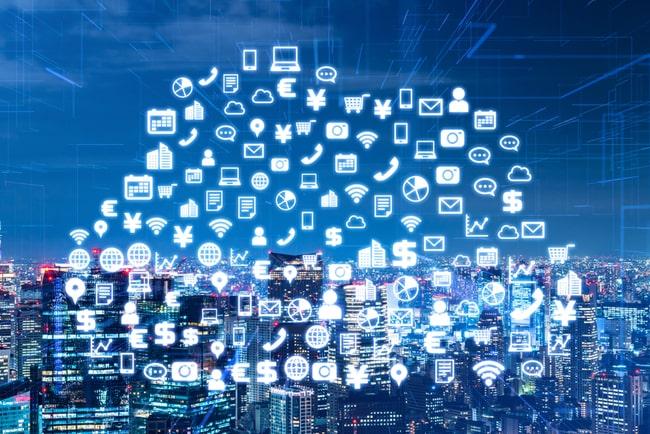 illustration molnbaserade tjänster som ikoner