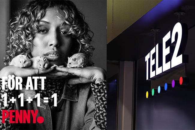 Kvinna med möss i händerna på höger sida av bilden och tele2s logga utanför butik.